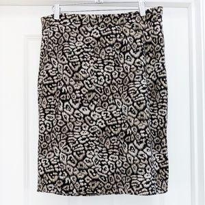 Ann Taylor rayon blend leopard print pencil skirt
